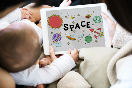 Illustration of solar system outerspace astronomy studying Stok Fotoğraf
