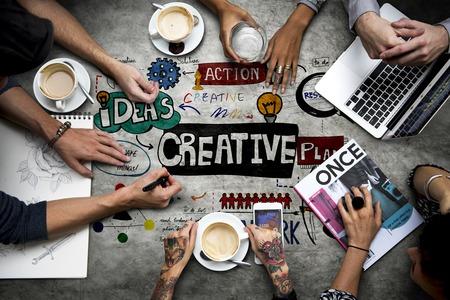 Creative Process Development Ideas Diagram Banco de Imagens
