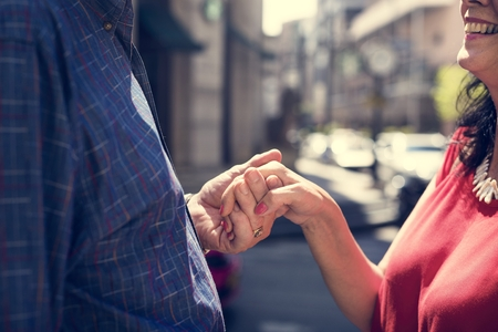 Mature people romantic holding hands Stok Fotoğraf