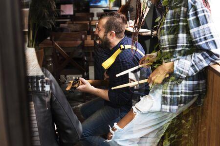 Music Band Rehearsal Playing Friendship Фото со стока