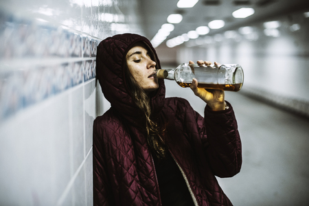 Homeless Alcoholism Woman Drinking Alcohol