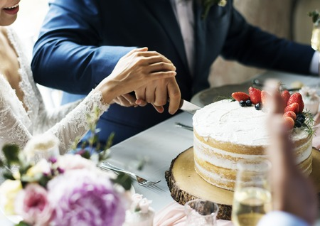 gather: Newlywed Couple Hands Cutting Cake Together