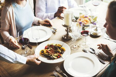 Restaurant Staff Serving Food Main Dish to Customers