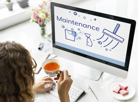 Illustration of home cleaning service on computer Stock Photo