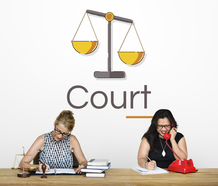 People with Illustration of justice scale rights and law Stock Illustration - 81219974