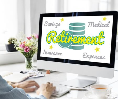 Retirement Senior Plan Coins Investment Graphic Concept Stock Photo