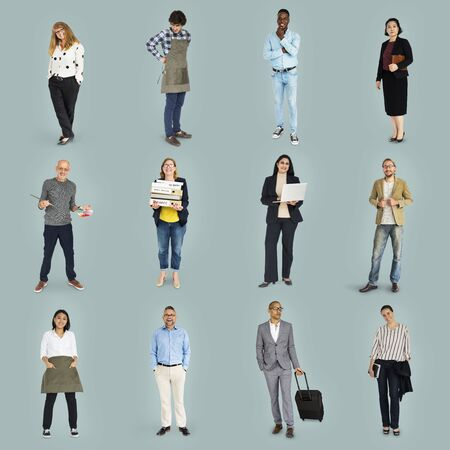 Diverse Career Business People Set Gesture Studio Isolated
