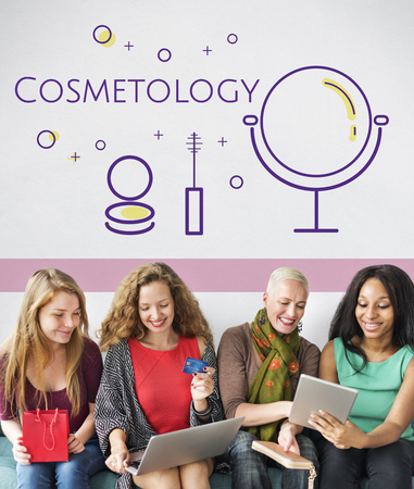 Group of women with beauty cosmetics makeover skincare Stock Photo