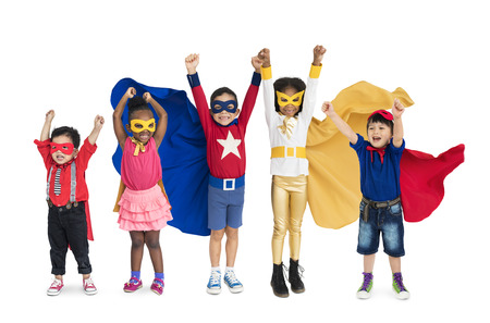 Diversity of Superhero Kids Playful Cheerful Happiness Studio Isolated