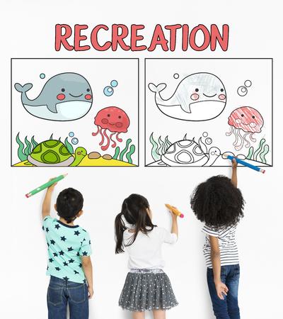 Children working on etwork graphic overlay background pad Reklamní fotografie