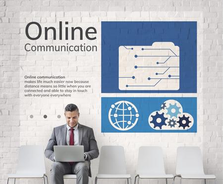 ネットワーク接続グラフィック オーバーレイの背景の壁に看板 写真素材 - 81220213