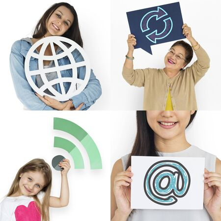 Set of Diversity People with Internet Connection Icons Studio Collage Stock Photo