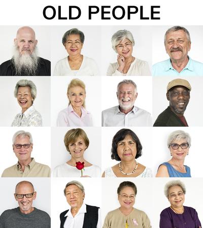 多様性成人高齢顔式スタジオ コラージュのセット 写真素材