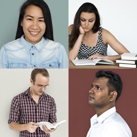 Set of diversity people reading education lifestyle 版權商用圖片 - 81217197