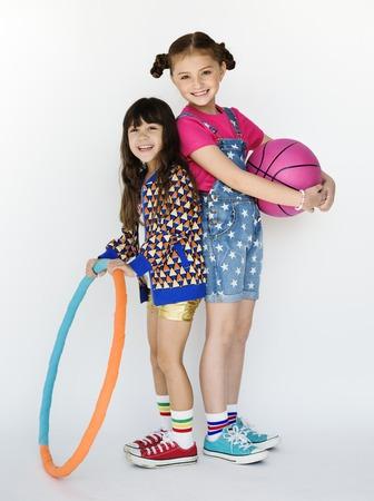 Children Girlfriends Smiling Happiness Friendship Togetherness Studio Portrait Фото со стока
