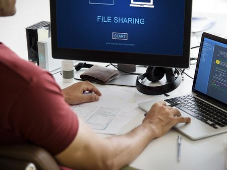 ファイル共有の転送データの概念 写真素材