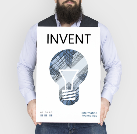 Man holding banner of creative ideas digital technology light bulb