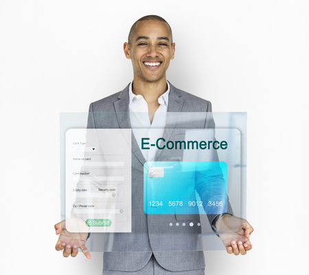 Businessman with credit card online shopping illustration