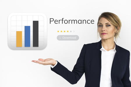 Businesswoman with analysis business chart illustration