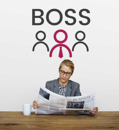 Illustration of boss manage and lead the team Reklamní fotografie