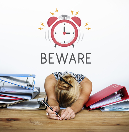illustration of alarm clock wakes tired woman up