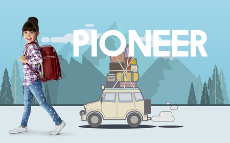Little girl with illustration of discovery journey road trip traveling Stock Photo