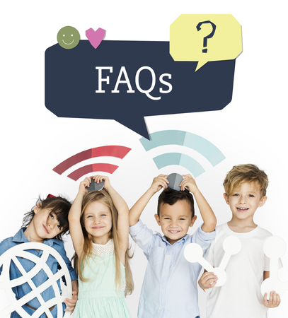 Group of kids with social network icon with smiling Stock Photo