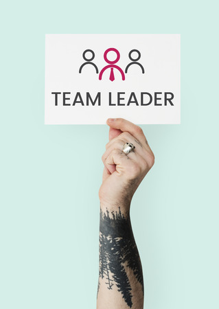 Hand holding banner of leadership business organization graphic Stok Fotoğraf
