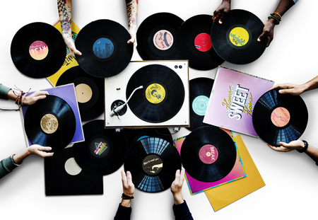 People with vinyl records
