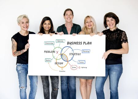 small business woman: People holding network graphic overlay billboard together