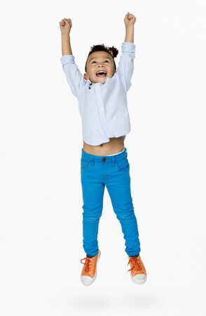Little Boy Junping Enjoy Happiness Cheerful Studio Portrait Stock Photo