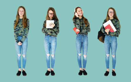 Young Adult Woman Studio Isolated Stock Photo
