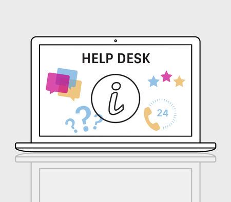 イラストのお問い合わせラップトップ上のオンライン顧客サービス 写真素材 - 81124617