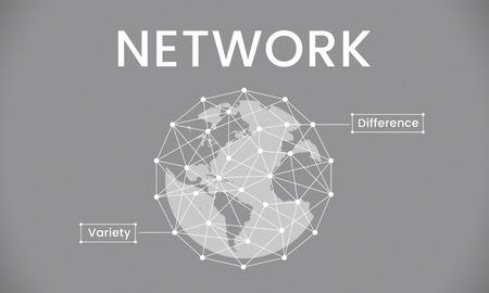 Gráfico da Sociedade de Conexão de Rede Global Foto de archivo - 81124940