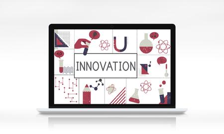 Illustration of biochemistry study scietific research on laptop Stok Fotoğraf