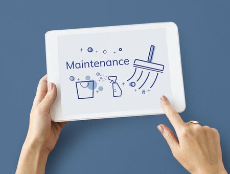 Illustration of home cleaning service on digital tablet Фото со стока