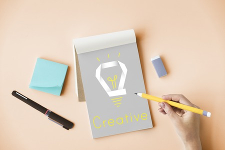 Creative Innovation Inspiration Light Bulb Graphic Word Stock Photo
