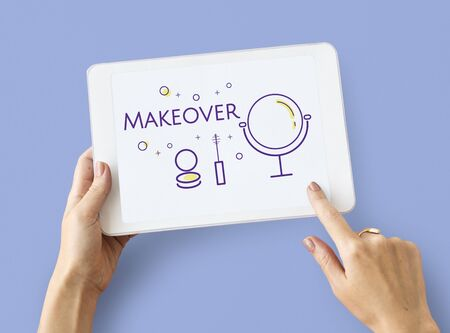 Illustration of beauty cosmetics makeover skincare on digital tablet Stock fotó