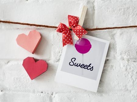 Illustratie van zoete snoep lolly op foto