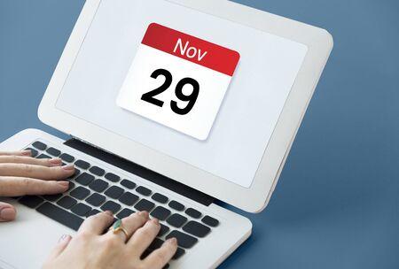 Illustration of calendar schedule personal organizer on laptop Stock Photo