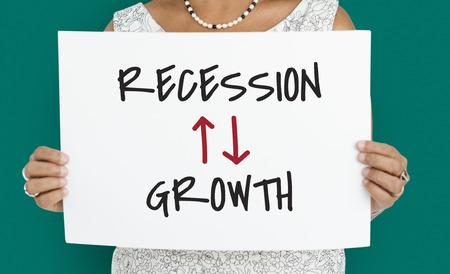 Recession Growth Arrow Up Down Word Stok Fotoğraf - 81132618