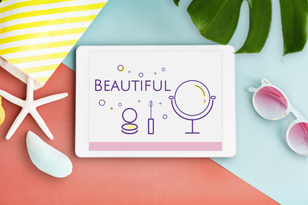 Illustration of beauty cosmetics makeover skincare on digital tablet Stock fotó