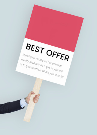 protester: Best Price Premium Sale Concept Stock Photo