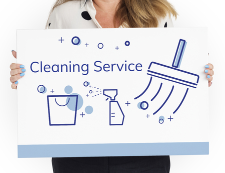 Illustration of home cleaning service on banner Stock Illustration - 81134148