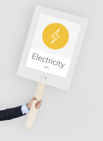 protester: Lighting Thunder Bolt Flash Electric Power Icon Graphic Stock Photo