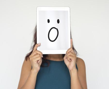 Illustration of wow surprise face on banner Reklamní fotografie