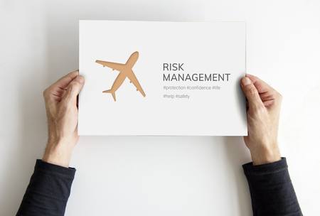 announce: Hands holding  banner of aviation life insurance traveling trip illustration Stock Photo