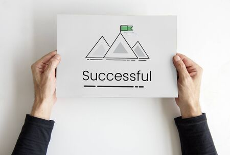 Illustration of goals target with mountain on banner Фото со стока