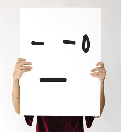 Illustration of awful sadness face on banner Stock Photo
