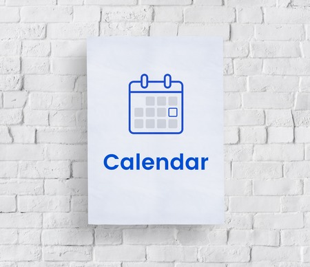 Illustration of personal organizer calendar on brick wall
